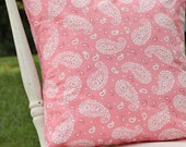 Throw Pillow Cover Pink Paisley White Girls Room 16 x 16 Handmade by Willow Handmade