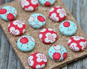 Fabric Button Push Pins, Thumb Tacks Bliss Tulips Red Turquoise Handmade by Willow Handmade