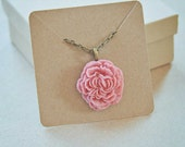 Pink Peony - Flower Cabochon Necklace - Vintage Style Antiqued Chain