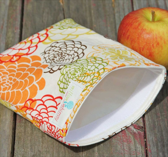 Reusable Sandwich Bag - Orange Blossom Handmade by Willow Handmade