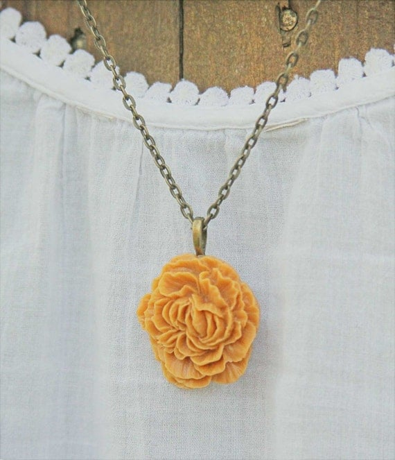 Tangerine Orange Peony - Flower Cabochon Necklace - Vintage Style Antiqued Chain