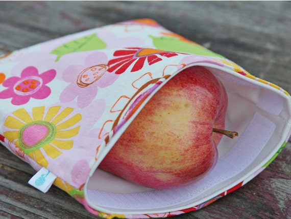 Reusable Sandwich Bag - Summer Flowers Handmade by Willow Handmade