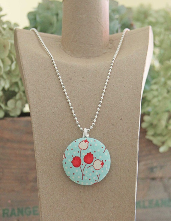 Red Tulips Fabric Button Pendant Necklace
