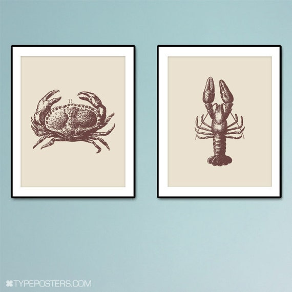The Crab and The Lobster -  Art Print Duo - 8x10