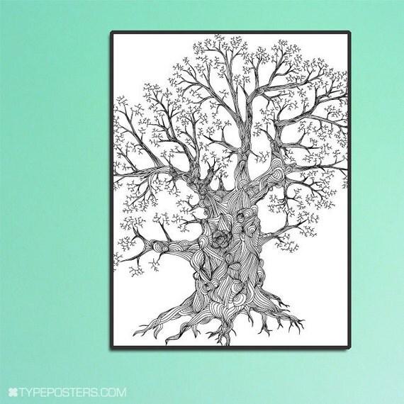Detailed Oak Tree Huge Wall Art Print 30x40 - Custom Colors