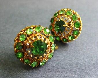 Earrings Spring Green Rhinestones