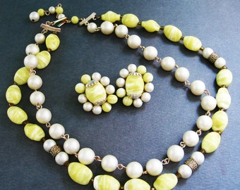 Vintage Beaded Necklace and Earrings- 1950s Japan Glass Pearl Demi Parure Yellow White Beads Elegant Mad Men Clip Spring Sunshine