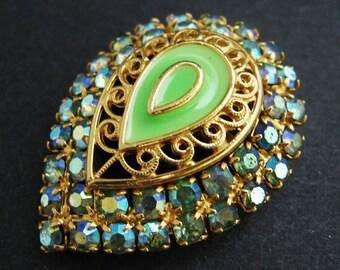 Green Enamel Rhinestone Brooch - Vintage Pin Jewelry Teardrop AB Gold Sparkle Statement Classic Knockout Lapel Elegant