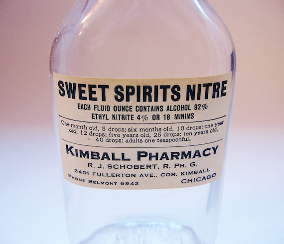Vintage Bottle Pharmacy Sweet Spirits Nitre