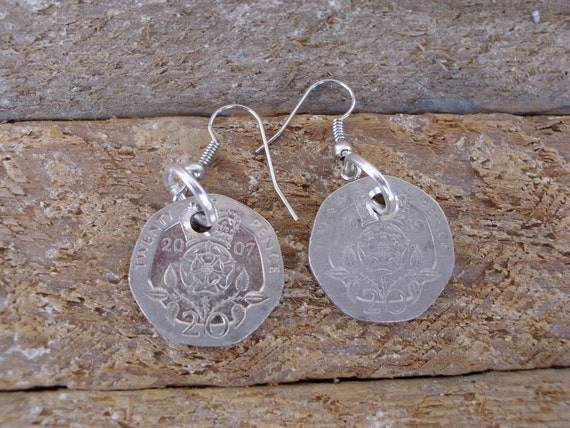Repurposed Coin Earrings 20 pence from Britain