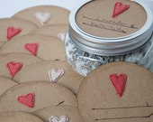 Mason jar gift labels - hearts - 12pc - regular or wide-mouth