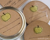 Mason jar gift labels - apple - 6pc - red or green - regular or wide-mouth