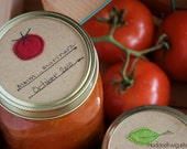 Mason jar gift labels - tomato - 12pc - regular or wide-mouth
