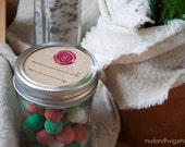 Mason jar gift labels - peppermint candy - 12pc - regular or wide-mouth
