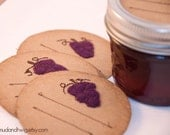 Mason jar gift labels - grapes - 6pc - regular or wide mouth