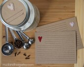 recipe cards or notecards - Valentine mix - scarlet & white - 10 card set