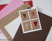 Valentine Postage - mixed hearts - 4pc adhesive novelty postage stamps