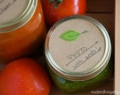 Mason jar gift labels - basil - 6pc - regular or wide-mouth