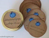 Mason jar gift labels - blueberry - 12pc - regular or wide-mouth