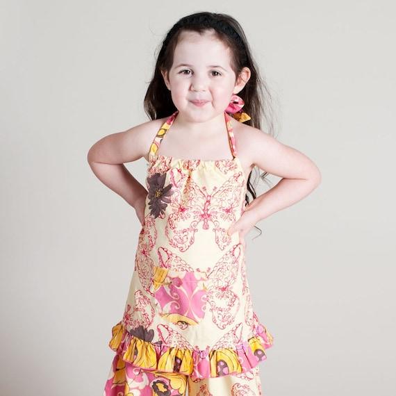Girls Raspberry Pink Daisy Butterfly Single Ruffle Pants Size 6 -SALE