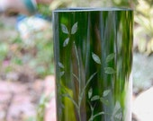 Repurposed Wine Bottle Glasses, with Etched Tree