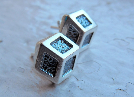 Handmade sterling silver three-dimensional studs cubes (for her or for him)