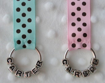 Blue or Pink Polka Dots Personalized Name Bag Tags