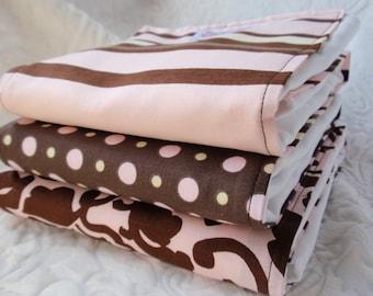 Pink Chocolate Burp Cloth Set
