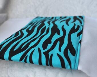 Electric Blue Zebra Burp Cloth