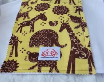 Zoo Animals in Brown and Yellow Burp Cloth