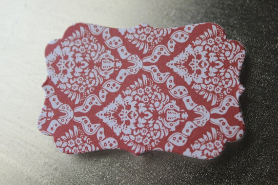 Red Damask Decorative Die Cut Tag Sticker Set of 10