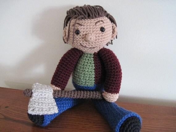 "Jack Nicholson ""The Shining"" crocheted doll"
