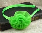 Tulle Rosette Metal Headband - Lime Green