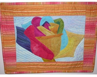 Batik Rainbow Rose Wall Quilt 14X18
