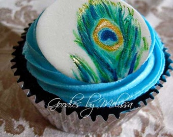 12 fondant hand painted peacock toppers (EDIBLE)