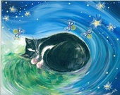 RESERVED 5X7 August Night, Sleeping Tuxedo Cat with Fireflies, Cat Painting, Art Print