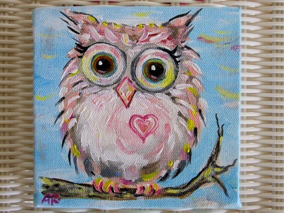 Owl Art- Original Painting- baby pink hoot owl