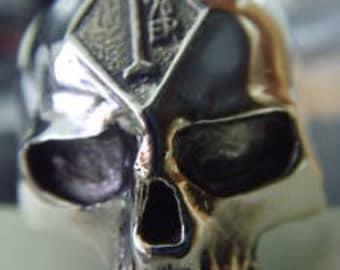 HARLEY skull  1 er one percenter pack pack mc clob sterling silver BIKER OUTLAW ring