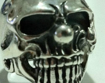 Harley skull  CLOWN 13  er one percenter pack  mc clob sterling silver  BIKER OUTLAW ring in all size that you want