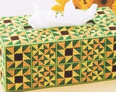SUNFLOWER PINWHEEL Tissue Topper Box Cover - Plastic Canvas PATTERN