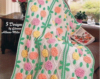 CROCHET APPLIQUE For AFGHANS Pattern Book - 5 Designs