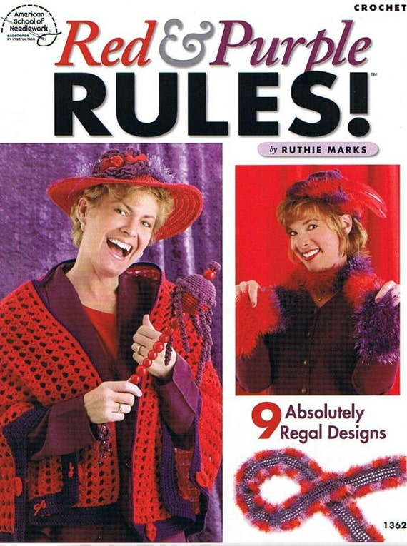 RED & PURPLE RULES - Crochet Pattern Book - Make Great Red Hat Society Gifts