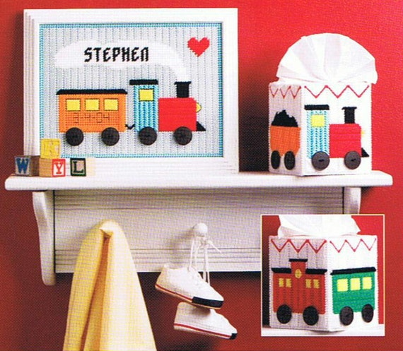 WELCOME BABY Train Set - Tissue Topper, Sampler - Plastic Canvas PATTERN