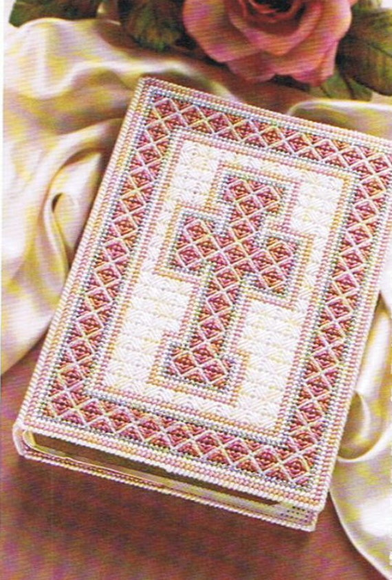 Book Cover Patterns Photo Free : Pink elegance bible cover plastic canvas pattern