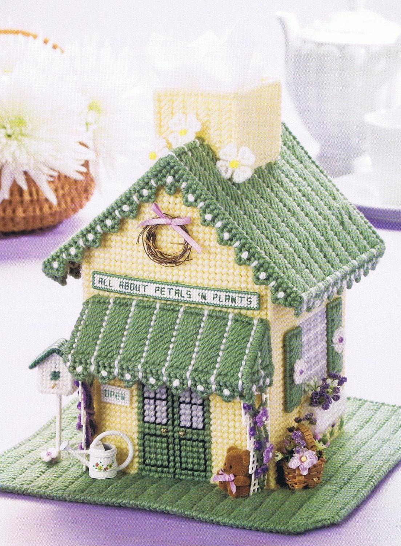 Flower Shop Tissue Topper Plastic Canvas Tissue Box Cover