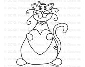 Cat with a Heart Digital Image - Moxie the Feline has a Heart - Digital Stamp - Digi Stamp - Digitized Hand Drawn Illustration
