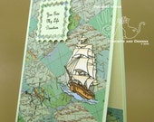 Boat Card - Historic Sailing Ship on a Map Background - Blank Inside - Nautical - Shades of Green - Coordinating Envelope - Handmade