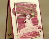 Cupcake Snowman Birthday Card  - Snowman Holding Cupcake - Red, Pink & Cream - Humorous - Blank Inside - Custom Envelope - Handmade