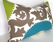 Designer Pillow Cover - Fahri - Indoor / Outdoor - 12x18 - 12x20 or 12x22  inches - Teal - Lime - Sand and Ivory