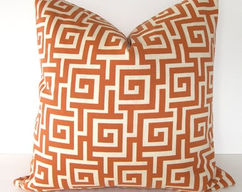 ON SALE / Greek Key indoor Outdoor Pillow Cover in Persimmon - Orange and Ivory - 16x16 or 18x18 inches